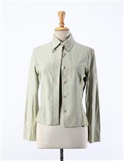 Sale 8891F - Lot 94 - A Mulberry, London pale-green soft leather jacket with suede paneling, size 10