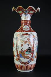 Sale 8897 - Lot 36 - A Large antique Japanese vase with frill neck edge decorated with figures and floral panels (H 54cm)