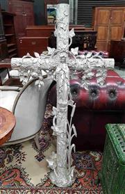 Sale 8939 - Lot 1011 - Large French Cast & Soldered Iron Crucifix, painted silver, overgrown with ivy, roses & bullrushes, mounted with a figure of the pra...