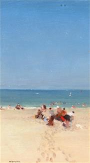 Sale 9001 - Lot 600 - John McQualter (1949 - ) - Man Holding his Dog at Dromana, Victoria 1988 23 x 13 cm (frame: 53 x 41 x 2 cm)