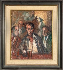 Sale 9150J - Lot 9 - GEORGE FEATHER LAWRENCE (1901 - 1981) Pub Characters oil on board Provenance: Von Bertouch Galleries Newcastle, exhibited March 1930...