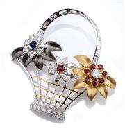 Sale 9066 - Lot 400 - AN18CT THREE TONE GOLD GEMSET FLORAL BASKET BROOCH; white gold basket set with 3 floral clusters incl. a round cut blue sapphire and...