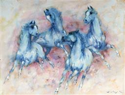 Sale 9150 - Lot 505 - DENES DE HOLESCH (1910 - 1983) - Horses 47 x 62 cm (frame: 60 x 75 x 4 cm)