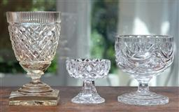 Sale 9120H - Lot 59 - A group of three cut crystal and glass raised comports, tallest Height 17.5cm