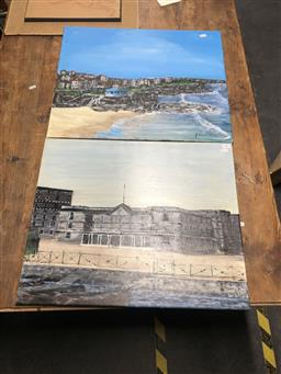 Sale 9155 - Lot 2073 - JOHN COLBERT - Beaches and building (x3) largest: 51 x 61 cm