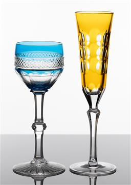 Sale 9255H - Lot 61 - A Christofle crystal Kawali champagne flute in amber, RRP $360, together with a Saint Louis Trianon blue hock wine glass, RRP $635.