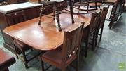 Sale 8375 - Lot 1048 - Rustic Extending Dining Table, with 2 leaves; together with a set of 6 dining chairs