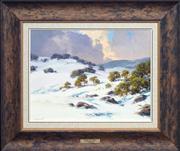 Sale 8420 - Lot 504 - John Downton (1939 - ) - Dressed for Winter, Kosciuszko, NSW 29 x 39.5cm