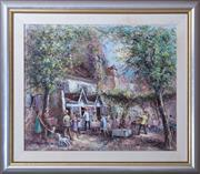 Sale 8593A - Lot 25 - Jean Marie Couillard - French square town centre scene 52.5 X 63.5