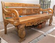 Sale 8644A - Lot 6 - An Oriental carved timber settle with splat back, H of back 86 x L 180 x D 63cm, some repairs.