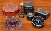 Sale 9058H - Lot 70 - A group of early plastics including two powder boxes (slight damage to one) together with two small lacquer examples, a bobbin stand...