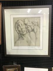 Sale 9072 - Lot 2014 - Artist Unknown De barmhartige 1938 lithograph ed. 18/50,  72 x 68cm (frame) signed, dated and inscribed lower