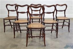 Sale 9196 - Lot 1031 - Set of Six Victorian Beech Dining Chairs, with faux rosewood grain & carved kidney shaped backs, caned seats & turned splayed legs w...