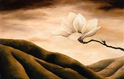 Sale 9252A - Lot 5003 - LISA WISSE (1968 - ) Secrets of an Ancient Land (Magnolia) acrylic on canvas (unstretched) 70 x 110 cm signed lower right, Trevor Vi...