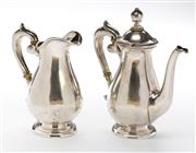 Sale 8540 - Lot 77 - Continental 934 silver baluster form coffee pot and silver milk jug with ivory insulators, pot 189g, milk jug 132g, taller H 14cm, m...
