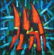 Sale 8565 - Lot 568 - Kevin Charles (Pro) Hart (1928 - 2006) - Sturt Peas, 1977 58.5 x 58.5cm