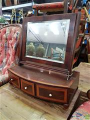 Sale 8601 - Lot 1113 - Good Victorian Inlaid Mahogany Toilet Mirror, with cross-banded mirror, the bow front base with three drawers & ivory knobs