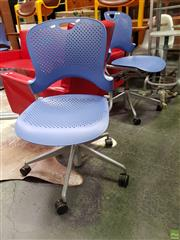 Sale 8625 - Lot 1014 - Set of Four Blue Herman Miller Office Chairs -