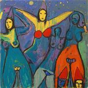 Sale 8657A - Lot 5031 - Stephen Langdon - Les Quatre Femmes 80.5 x 80.5cm
