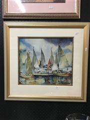 Sale 8663 - Lot 2103 - Beryl Mallinson - Wednesday Sailors Pittwater, Watercolour, SLR -