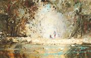 Sale 9013 - Lot 594 - William Rubery Bennett (1893 - 1987) - Bathing the River 21.5 x 34 cm (frame: 40 x 52 x 6 cm)