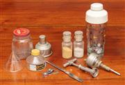 Sale 9058H - Lot 71 - A group of items including a vintage cocktail shaker of golf interest, bottle openers, funnels, ink jars etc