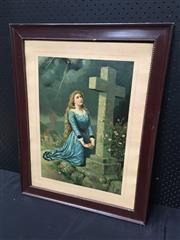 Sale 9053 - Lot 2080 - Artist Unknown Prayers for a Burning City, decorative print AF, frame: 69 x 54 cm