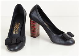 Sale 9120K - Lot 43 - A pair of Salvadore Ferragamo 85 heels; in black and multi coloured heels, in original box, size 7C, 8 cm high heels