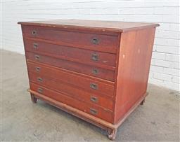 Sale 9117 - Lot 1061 - Vintage 6 drawer map chest (h:84 w:106 d:72cm)