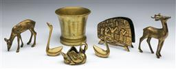 Sale 9144 - Lot 32 - Collection of brasswares including animals mortar, letter holder