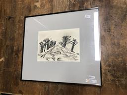 Sale 9155 - Lot 2061 - Artist Unknown Rural Tree Lined Road ink and wash 16 x 22cm (36 x 41cm), signed -