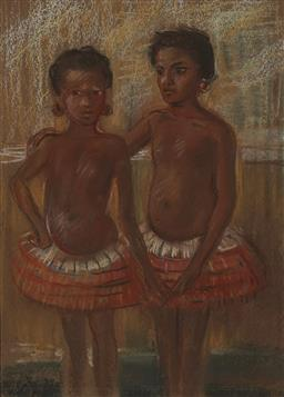 Sale 9161 - Lot 577 - NORA HEYSEN (1911 - 2003) Untitled (Two Polynesian Girls), c1940s pastel on paper 30 x 21.5 cm (framed: 48 x 38 x 2 cm) signed lower...
