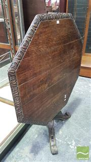 Sale 8375 - Lot 1056 - Pair of Rustic Carved Oak Tilt-Top Tables