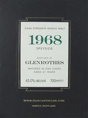 Sale 8423 - Lot 606 - 1x 1968 Glenrothes Distillery 41YO Cask Strength Speyside Single Malt Scotch Whisky - bottled for Duncan Taylor Scotch Whisky Ltd....