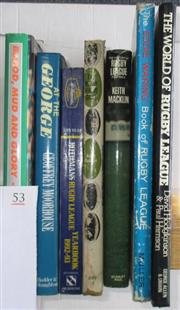 Sale 8418S - Lot 53 - BOOKS ON ENGLISH RUGBY LEAGUE. (7 books) Blood, Mud and Glory, Inside Story of Wigan's Year, Geoff Moorhouse, At The George, Rothman...