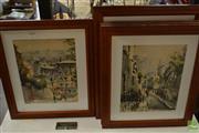 Sale 8487 - Lot 2060 - Marius Girard (5 works) - Paris Street Scenes 39 x 34cm, each (frame size)