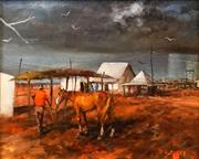 Sale 8575 - Lot 551 - Hugh Sawrey (1919 - 1999) - The Out-Station, Western Queensland 23.5 x 28.5cm