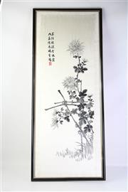 Sale 8775 - Lot 90 - An Early Oriental Silk Embroidery ( 36cm x 110)