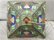 Sale 8917 - Lot 1087 - Art Deco Egyptian Themed Leadlight Shade, of square form, with winged sphinxes & foliage
