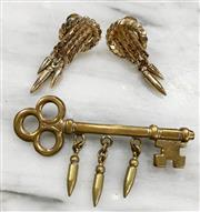 Sale 8951P - Lot 329 - Pair of Plumb Bob Clip-on Earrings and Key Form Broach with Plumbs