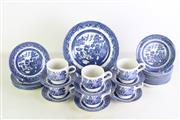 Sale 8957 - Lot 9 - A Set of Churchill (England) Willow Pattern Trios Together with Plates and Bowls