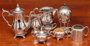 Sale 9058H - Lot 13 - A group of silver plated wares comprising coffee pot, milk and sugar jug, two iced water jugs, and egg coddler and sundry jugs