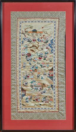 Sale 9098H - Lot 9 - A Chinese silk depiction of a festival/ procession in a frame, 74cm x 43cm