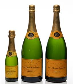 Sale 9255H - Lot 13 - A pair of Veuve Clicquot Ponsardin magnum display bottles, Height 39cm, together with a smaller example, Height 26.5cm.