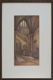 Sale 8604 - Lot 2034 - Winifred Betts (c1875 - c1958) - Southern Foyer of the Quad at Sydney Uni. 33 x 18cm