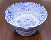 Sale 8346A - Lot 54 - A Victorian Scottish blue and white transfer printed footed bowl, Neuilly, maker JMPB & Co, with classical scene, D 25cm