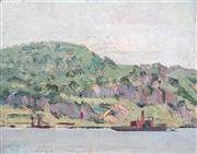 Sale 8415 - Lot 603 - Lionel Hornabrooke Jago (1882 - 1953) - Untitled (Ship along the coastline) 24 x 30.5cm
