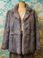 Sale 8420A - Lot 28 - A vintage French artic blue coney rabbit fur jacket, size: M,  label reads Fur Origin France, fully lined, condition: excellent