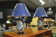 Sale 8440 - Lot 1052 - Pair of Belgian Floral Lamps (3389)