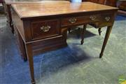 Sale 8520 - Lot 1033 - 1920s Inlaid Mahogany Ladys Desk, with one shallow & two deep drawers, on tapering legs with spade feet